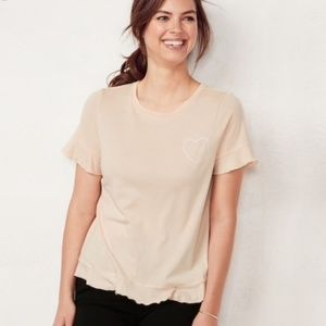 Lauren Conrad Ruffle Hem with Heart Tee Size Large